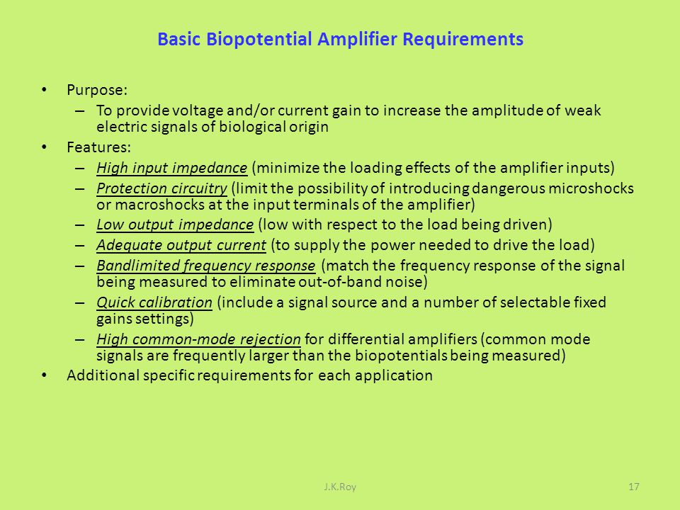 Basic Biopotential Amplifier Requirements