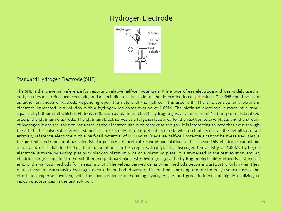 Hydrogen Electrode Standard Hydrogen Electrode (SHE)