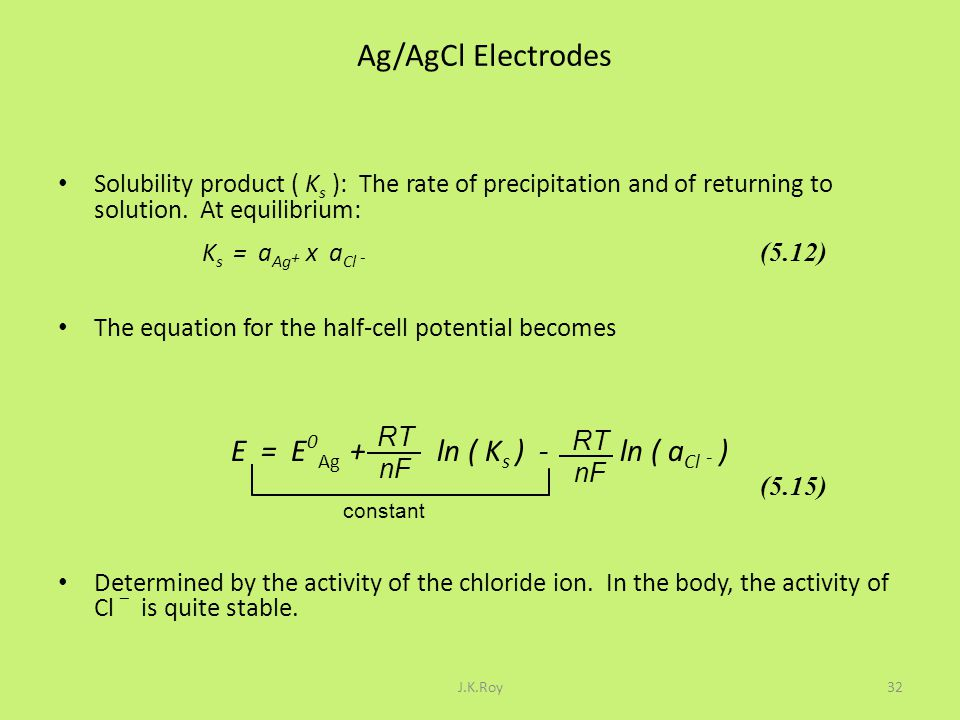 E = E0Ag + ln ( Ks ) - ln ( aCl - )
