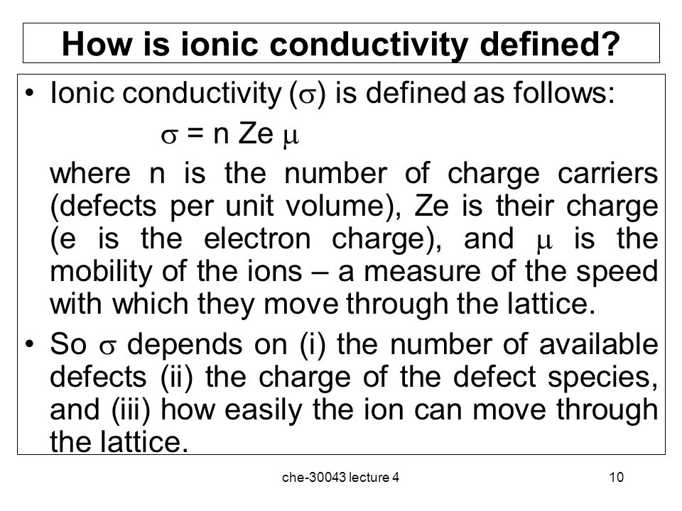 How is ionic conductivity defined