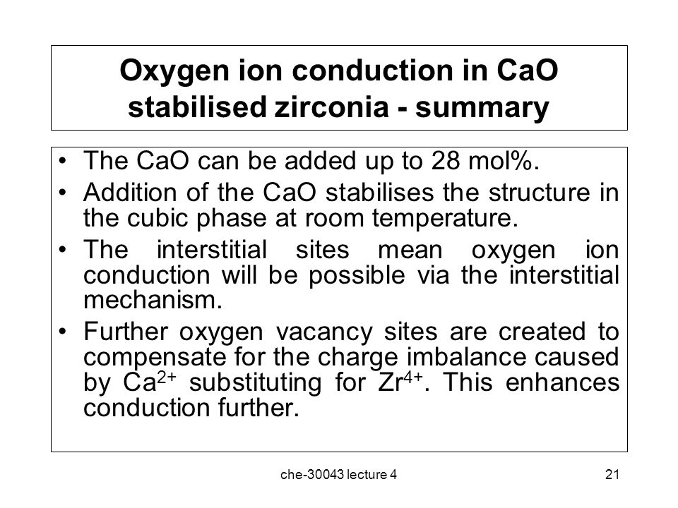 Oxygen ion conduction in CaO stabilised zirconia - summary