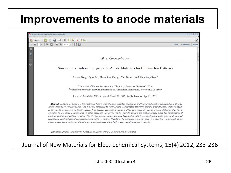 Improvements to anode materials