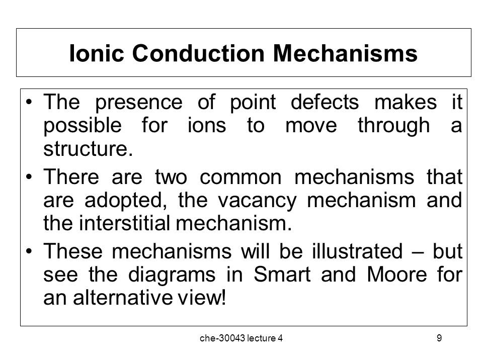 Ionic Conduction Mechanisms