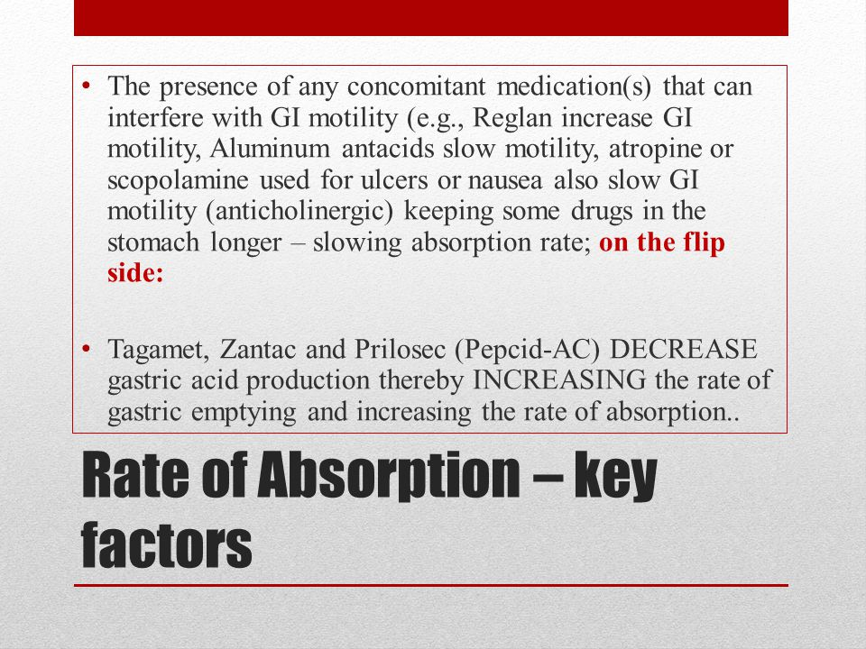 Rate of Absorption – key factors