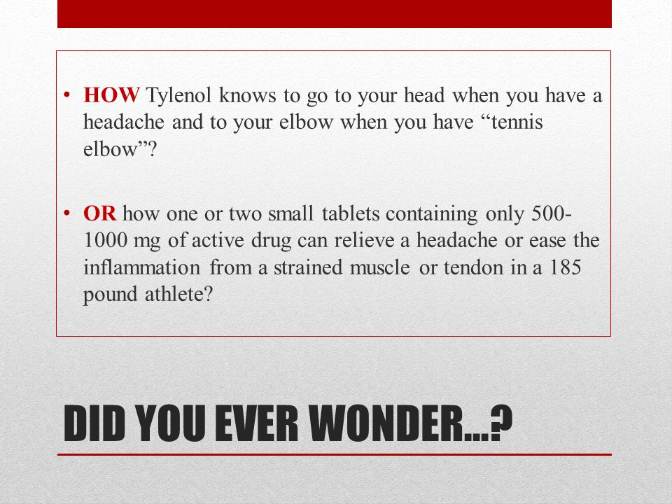 HOW Tylenol knows to go to your head when you have a headache and to your elbow when you have tennis elbow