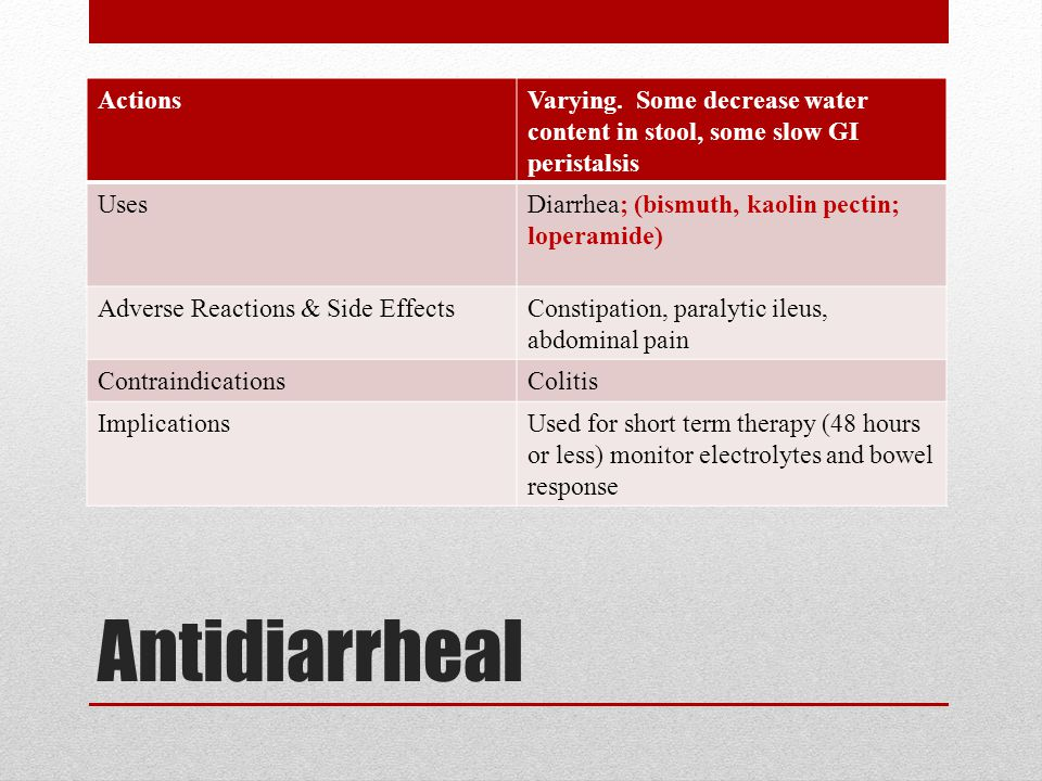 Antidiarrheal Actions