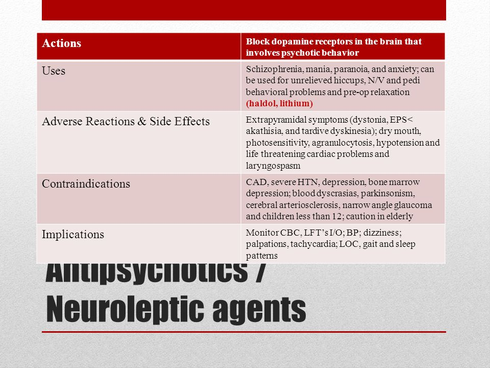 Antipsychotics / Neuroleptic agents