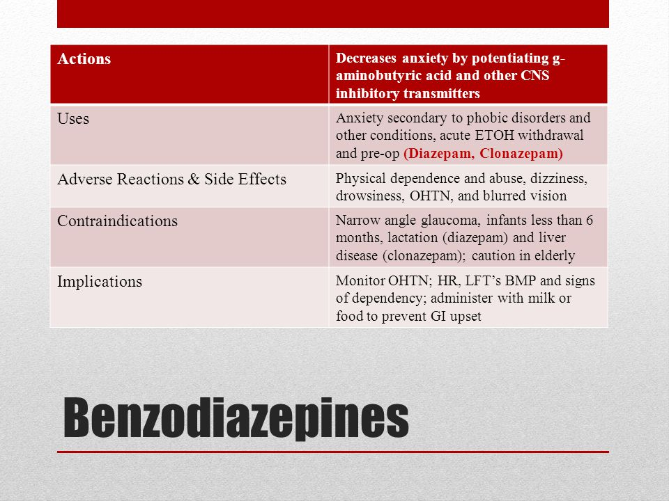 Benzodiazepines Actions Uses Adverse Reactions & Side Effects