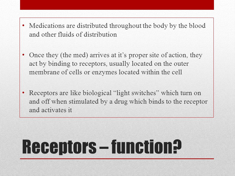 Medications are distributed throughout the body by the blood and other fluids of distribution