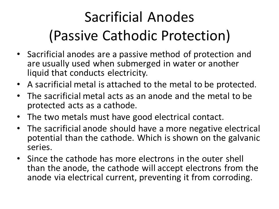 Sacrificial Anodes (Passive Cathodic Protection)