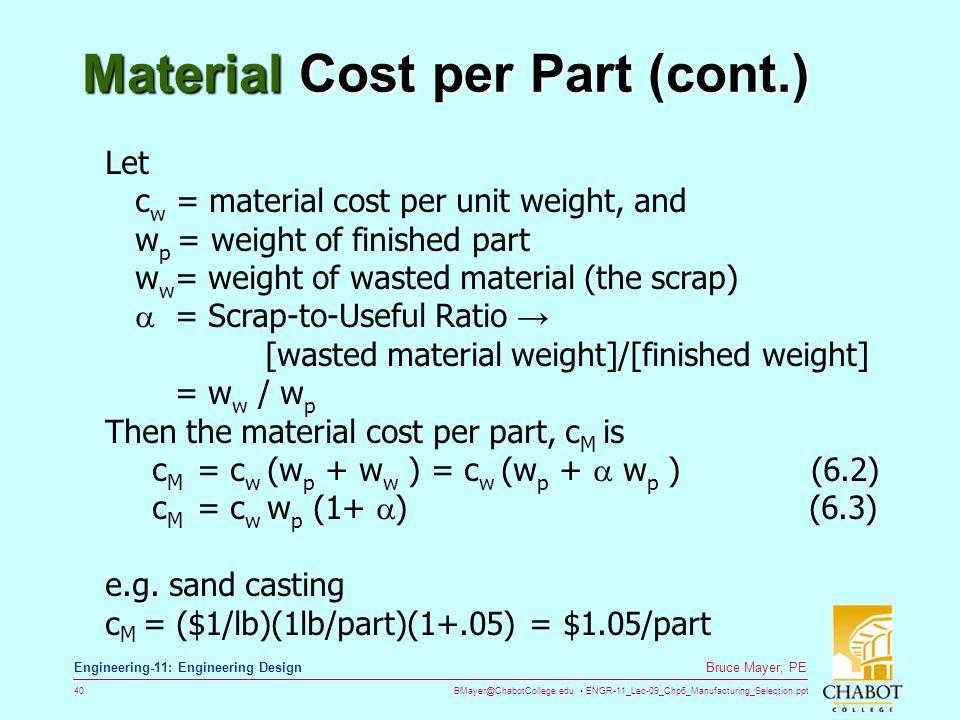 Material Cost per Part (cont.)