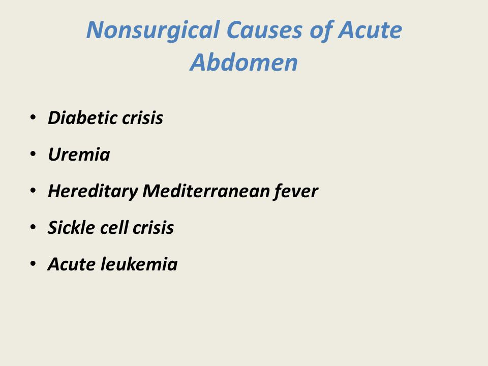 Nonsurgical Causes of Acute Abdomen