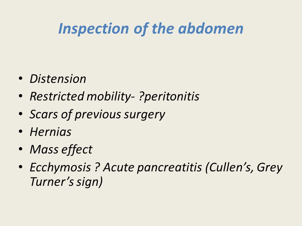 Inspection of the abdomen