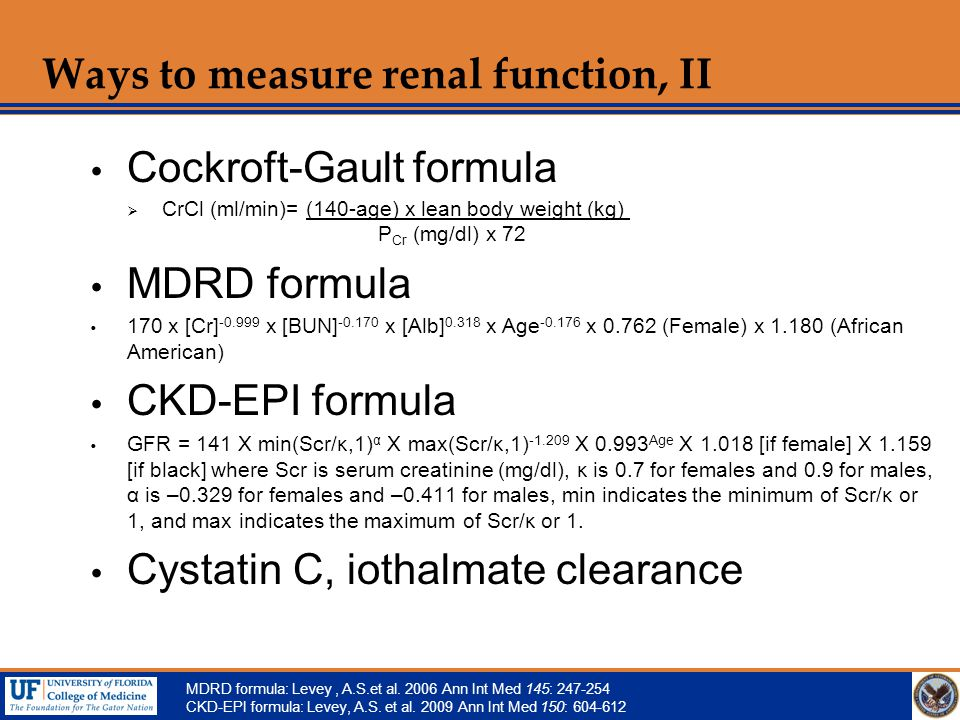 Ways to measure renal function, II