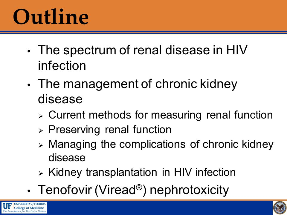 Outline The spectrum of renal disease in HIV infection