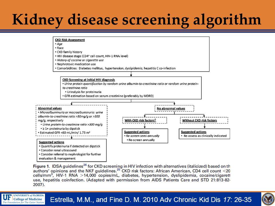Kidney disease screening algorithm