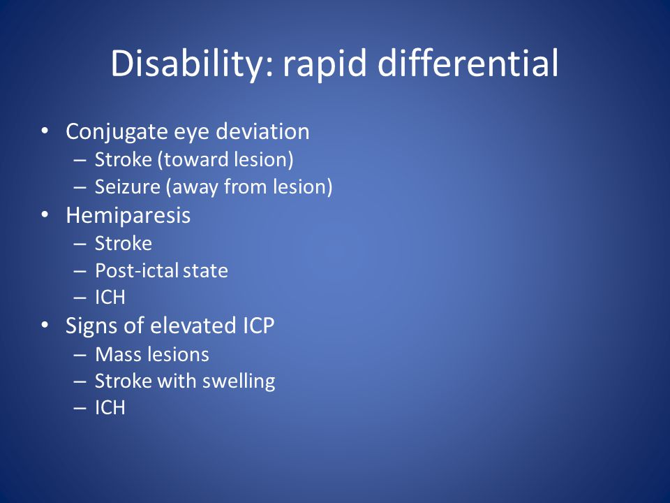 Disability: rapid differential