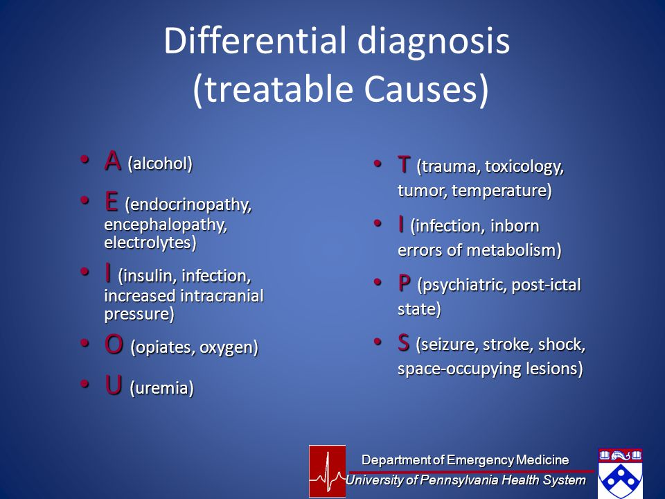Differential diagnosis (treatable Causes)