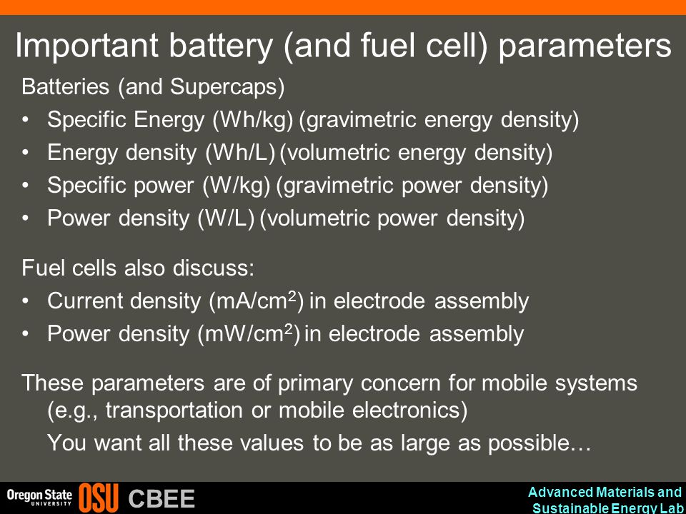 Important battery (and fuel cell) parameters