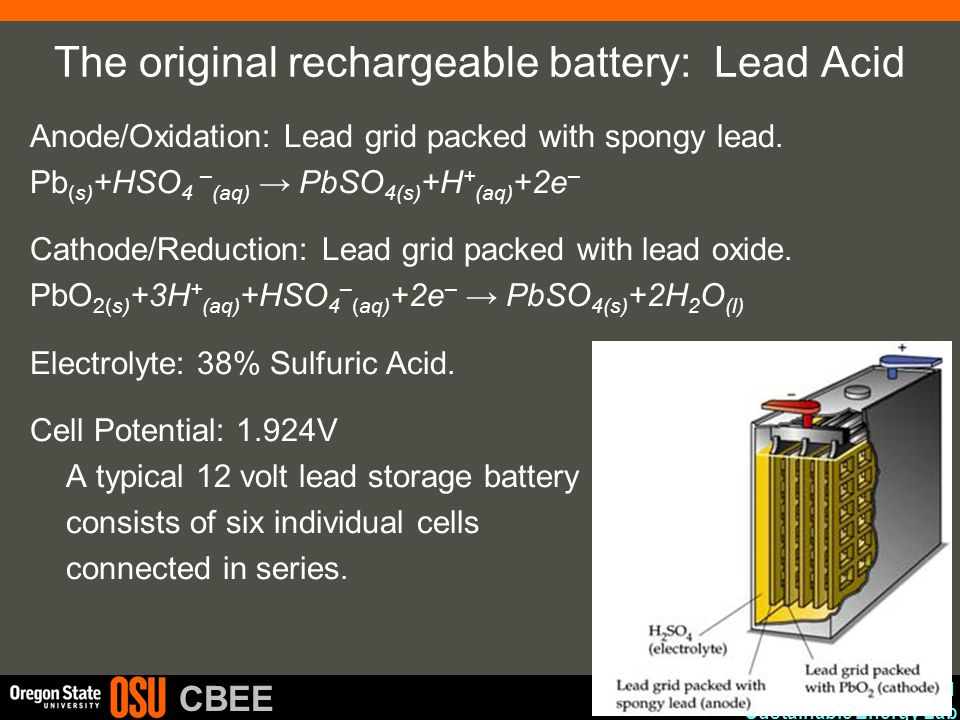 The original rechargeable battery: Lead Acid