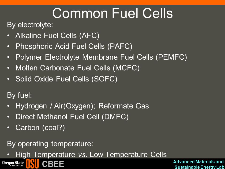 Common Fuel Cells By electrolyte: Alkaline Fuel Cells (AFC)