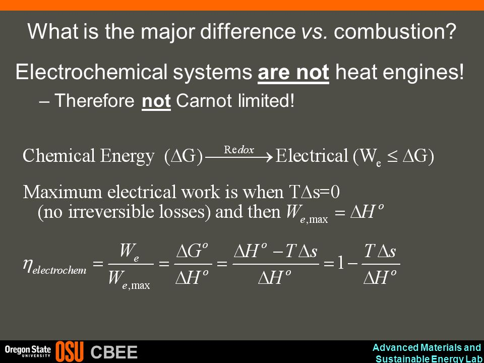What is the major difference vs. combustion