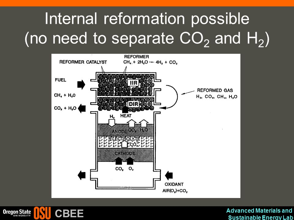 Internal reformation possible (no need to separate CO2 and H2)