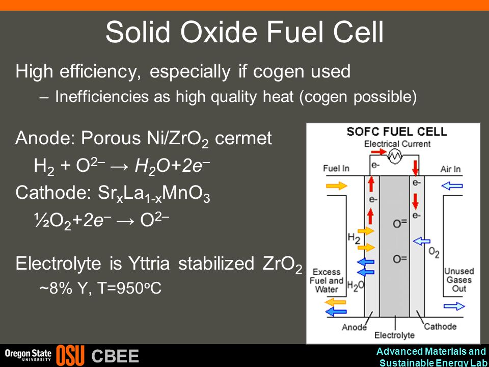Solid Oxide Fuel Cell High efficiency, especially if cogen used