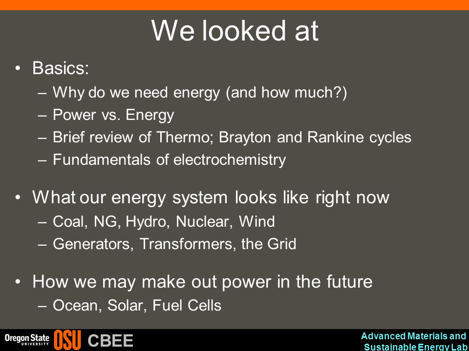 We looked at Basics: What our energy system looks like right now