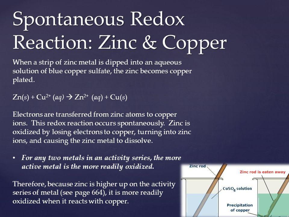 Spontaneous Redox Reaction: Zinc & Copper