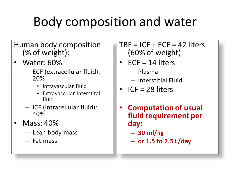 Body composition and water