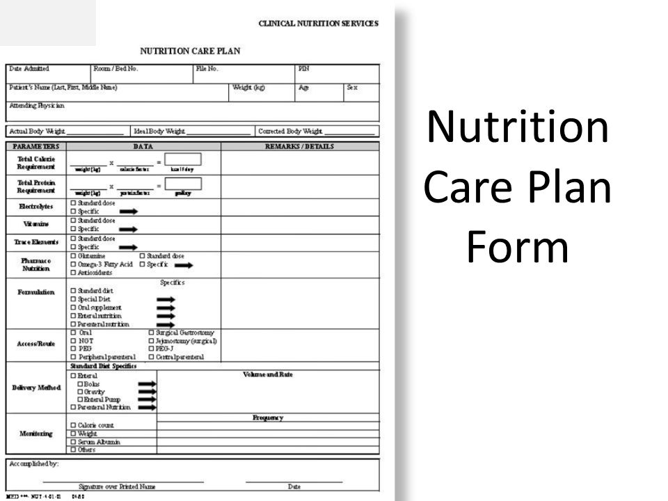 Nutrition Care Plan Form
