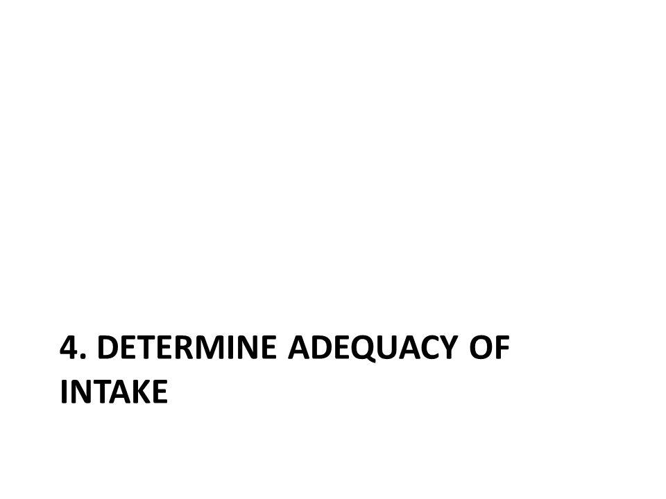 4. Determine adequacy of intake