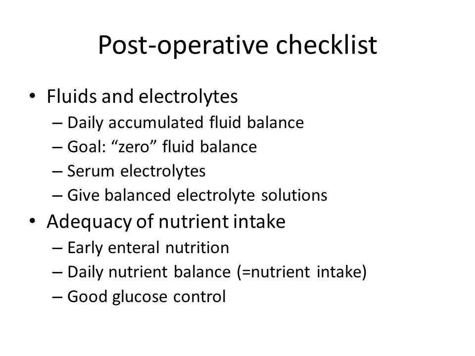 Post-operative checklist