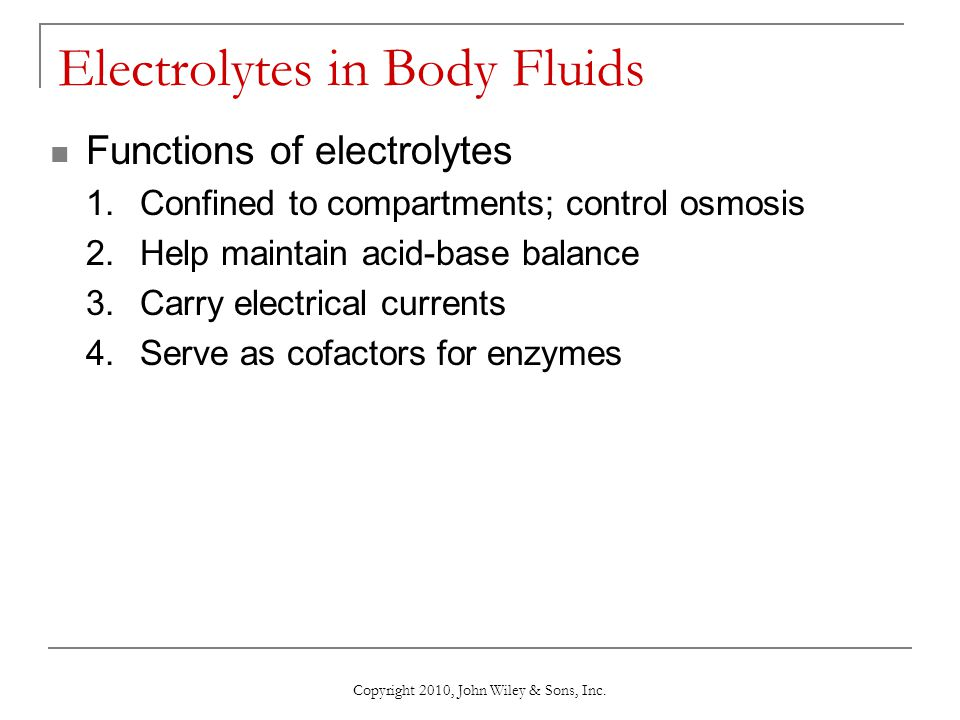 Electrolytes in Body Fluids
