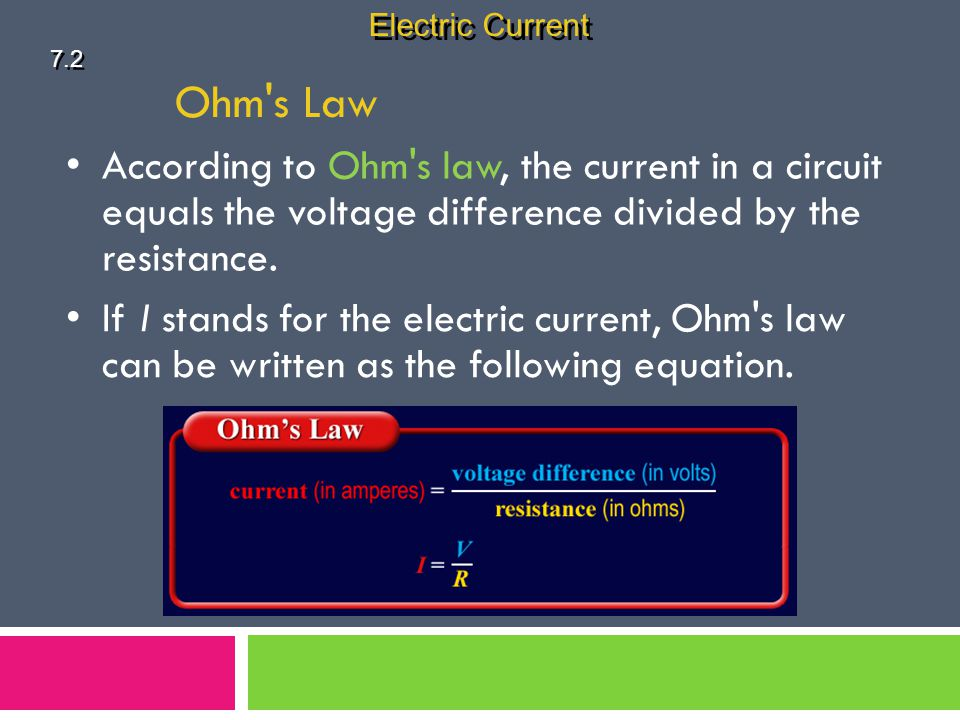 Electric Current 7.2. Ohm s Law. According to Ohm s law, the current in a circuit equals the voltage difference divided by the resistance.