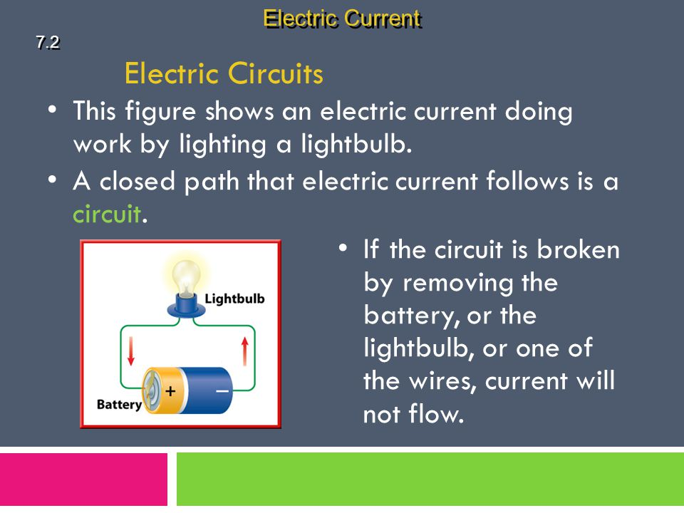 Electric Current 7.2. Electric Circuits. This figure shows an electric current doing work by lighting a lightbulb.