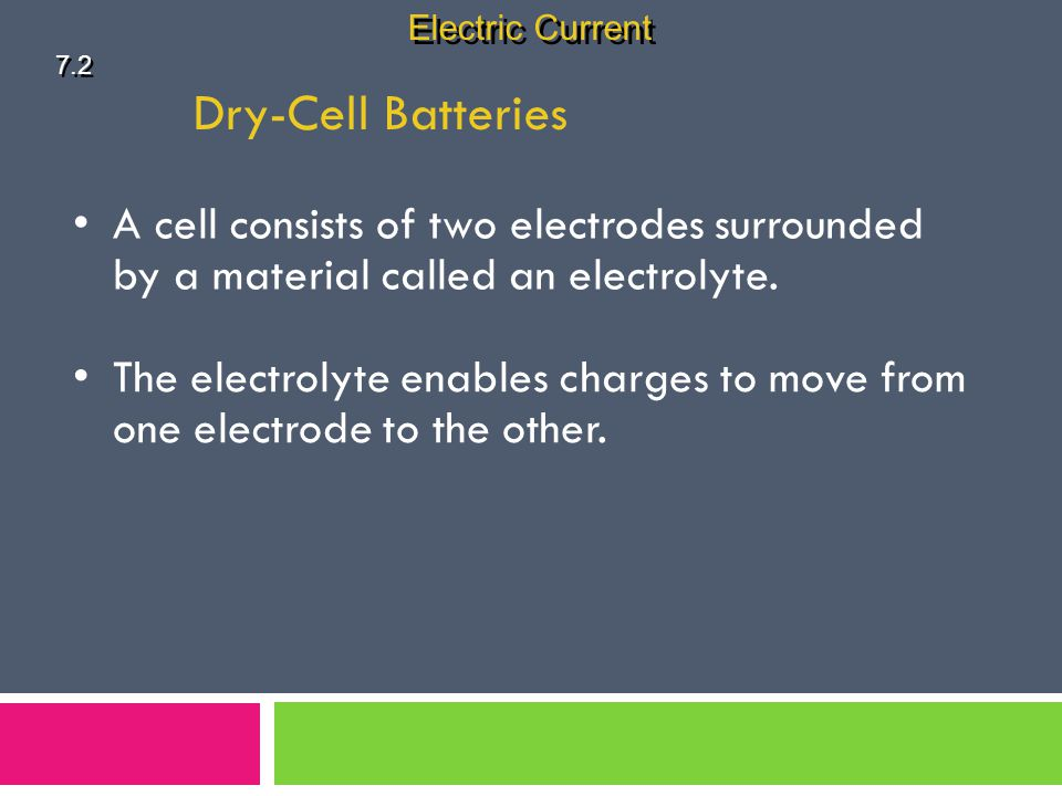 Electric Current 7.2. Dry-Cell Batteries. A cell consists of two electrodes surrounded by a material called an electrolyte.