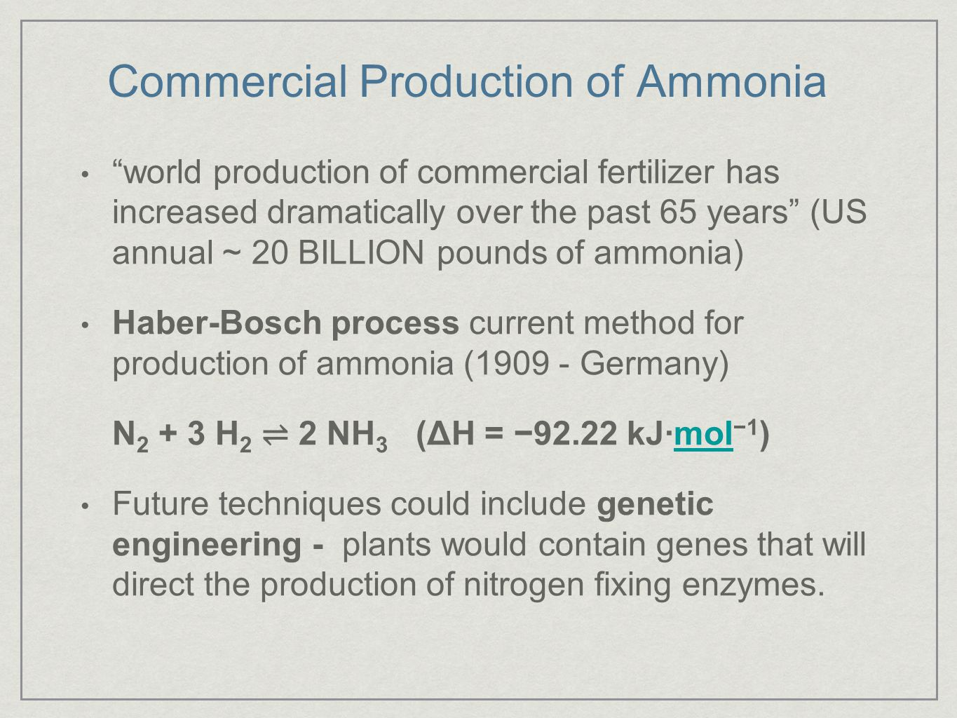 Commercial Production of Ammonia