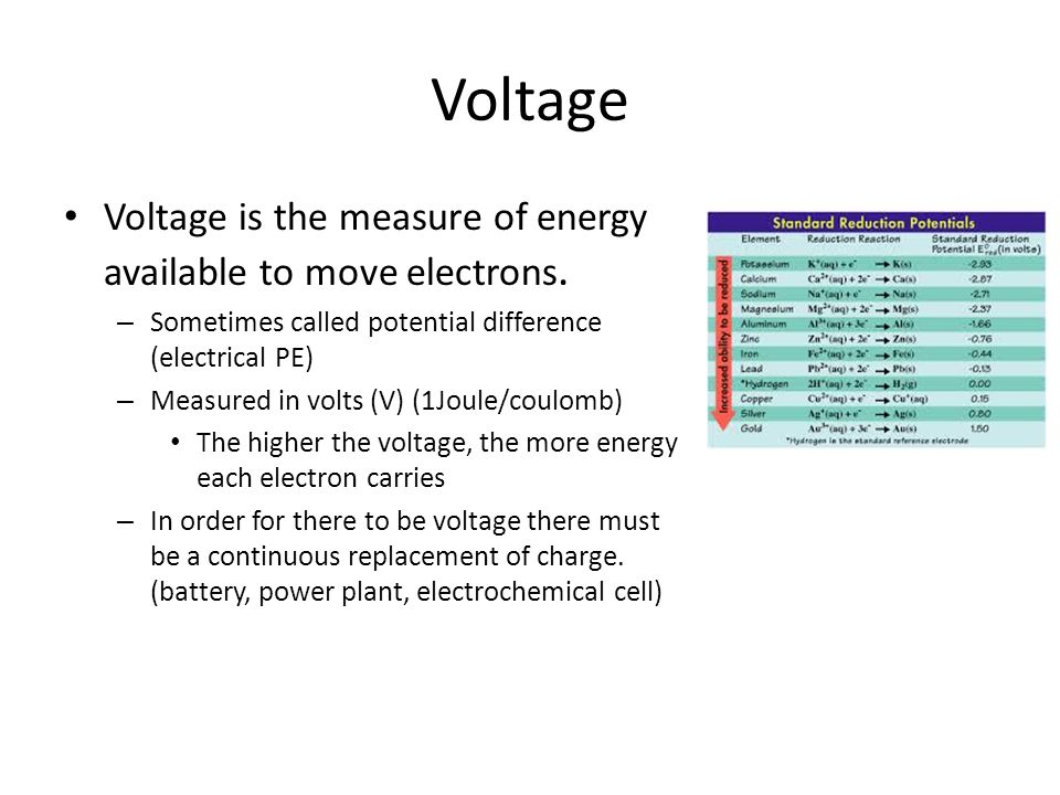 Voltage Voltage is the measure of energy available to move electrons.