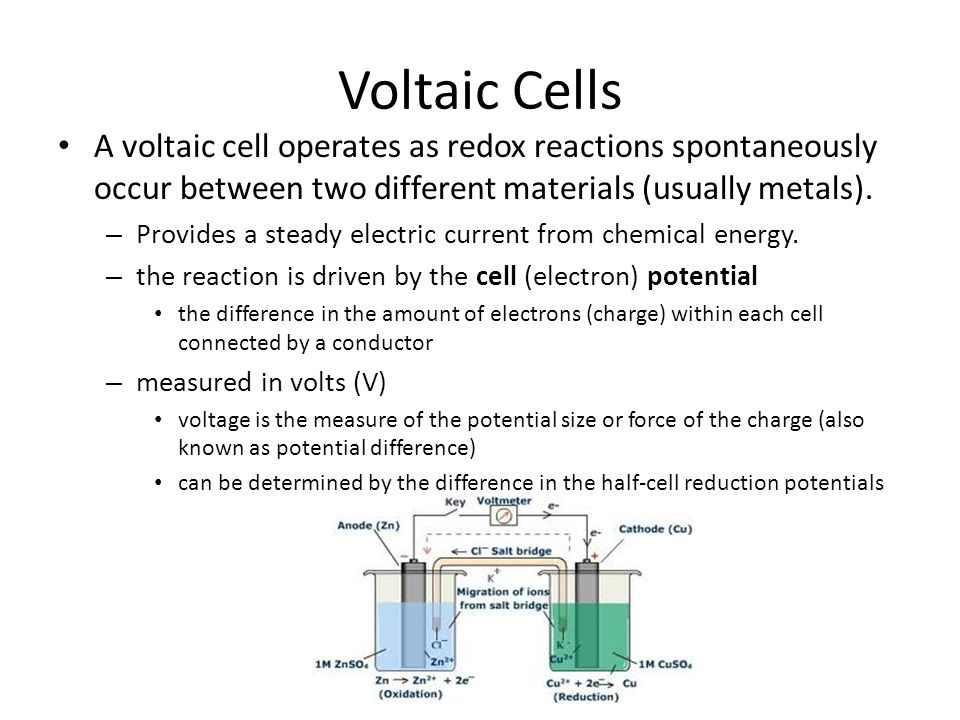 Voltaic Cells A voltaic cell operates as redox reactions spontaneously occur between two different materials (usually metals).