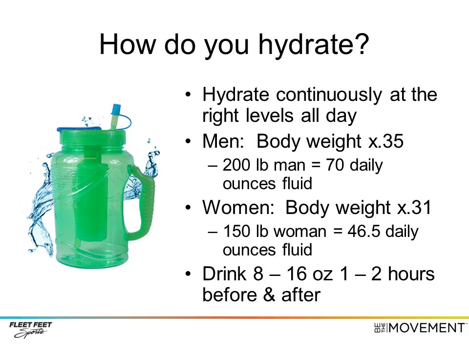 How do you hydrate Hydrate continuously at the right levels all day