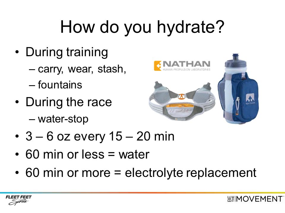 How do you hydrate During training During the race