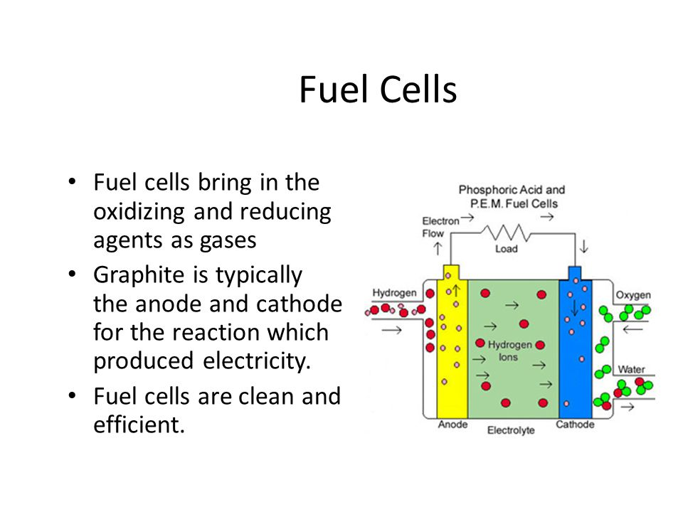 Fuel Cells Fuel cells bring in the oxidizing and reducing agents as gases.