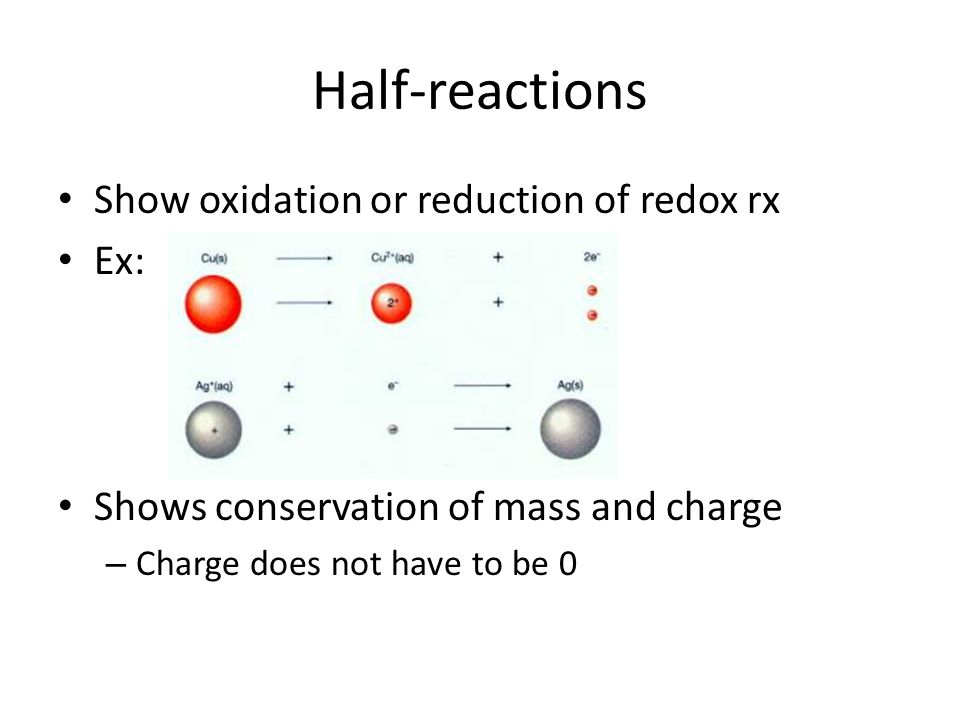Half-reactions Show oxidation or reduction of redox rx Ex: