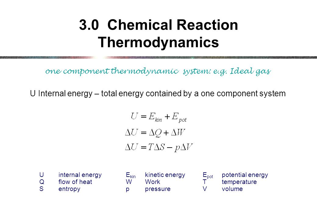 3.0 Chemical Reaction Thermodynamics