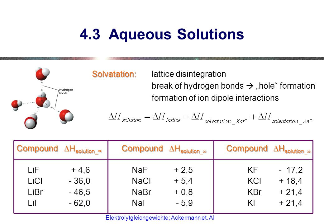 "4.3 Aqueous Solutions Solvatation: lattice disintegration break of hydrogen bonds  ""hole formation formation of ion dipole interactions"