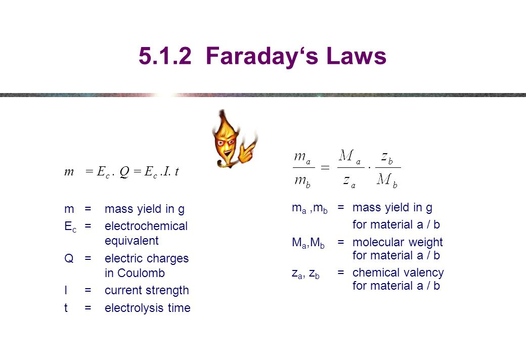5.1.2 Faraday's Laws m = Ec . Q = Ec .I. t m = mass yield in g