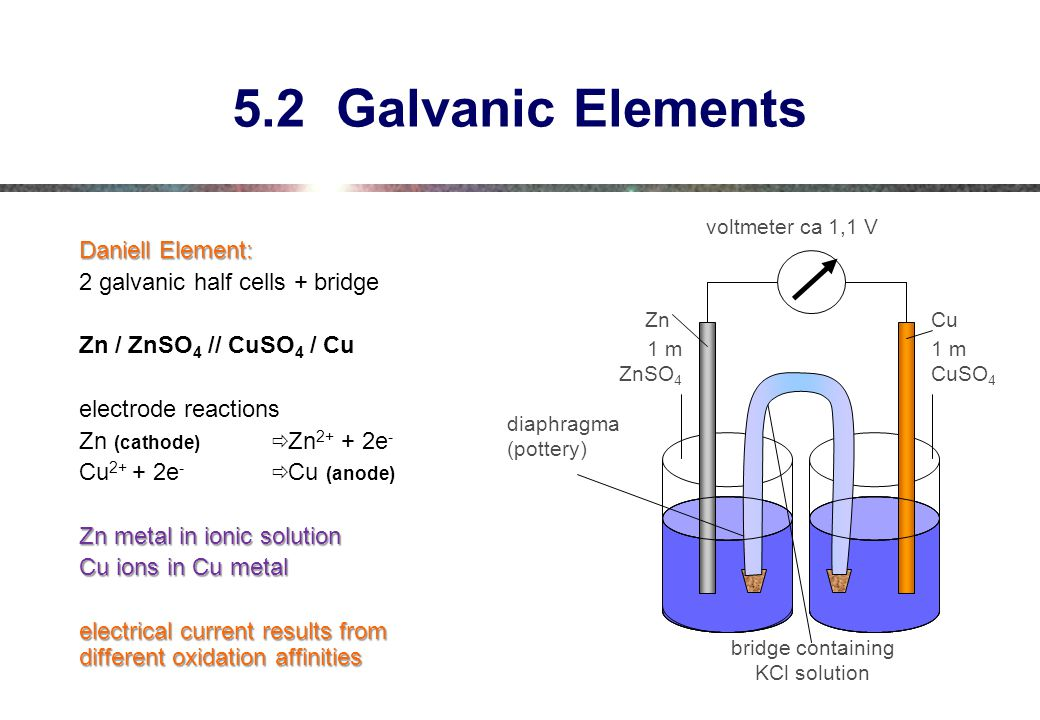 5.2 Galvanic Elements Daniell Element: 2 galvanic half cells + bridge
