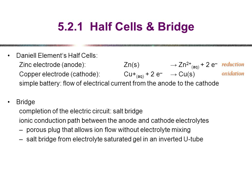 5.2.1 Half Cells & Bridge Daniell Element's Half Cells: